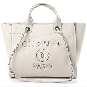 Chanel Caviar Small Studded Deauville Tote Ivory